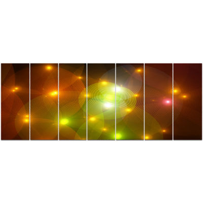 Golden Fractal Lights In Fog Abstract Wall Art Canvas - 7 Panels