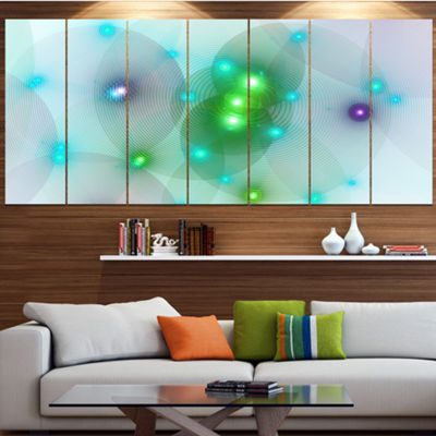 Green Fractal Lights In Fog Abstract Wall Art Canvas - 5 Panels