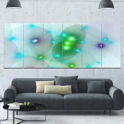 Green Fractal Lights In Fog Abstract Wall Art Canvas - 6 Panels
