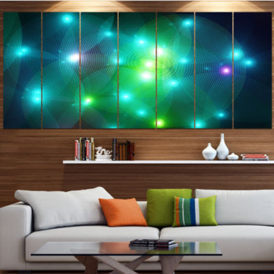 Multi Color Fractal Lights In Fog Abstract Wall Art Canvas - 4 Panels