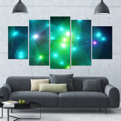 Multi Color Fractal Lights In Fog Contemporary Wall Art Canvas - 5 Panels