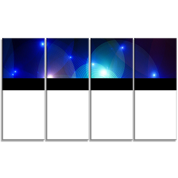Designart Dark Blue Fractal Lights In Fog AbstractWall ArtCanvas - 4 Panels