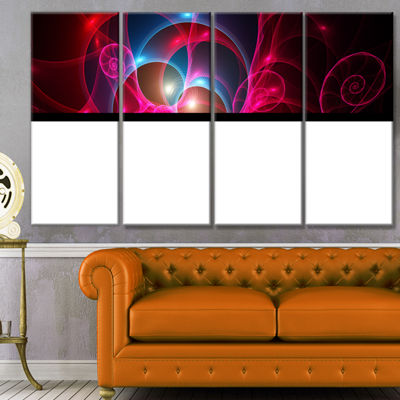 Pink Curly Spiral On Black Abstract Wall Art Canvas - 4 Panels