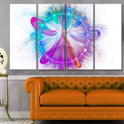 Vortices Of Energy Fractal Pattern Abstract Wall Art Canvas - 4 Panels