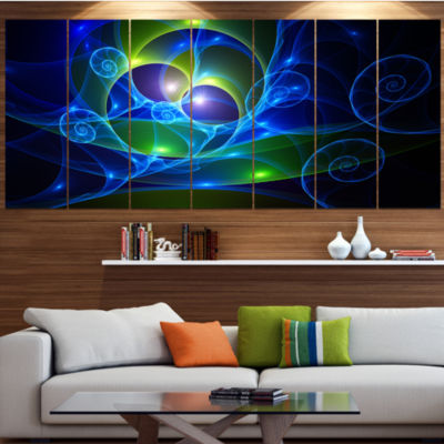 Blue Curly Spiral On Black Abstract Wall Art Canvas - 4 Panels