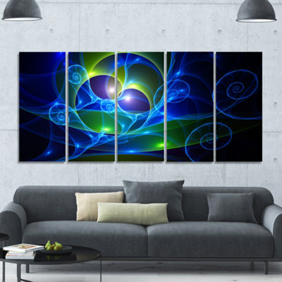 Designart Blue Curly Spiral On Black Abstract WallArt Canvas - 5 Panels