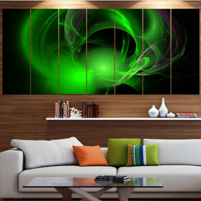 Green Galactic Nebula On Black Abstract Wall Art Canvas - 5 Panels