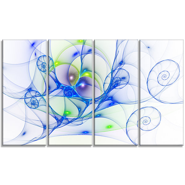 Designart Blue Colored Curly Spiral Abstract WallArt Canvas- 4 Panels