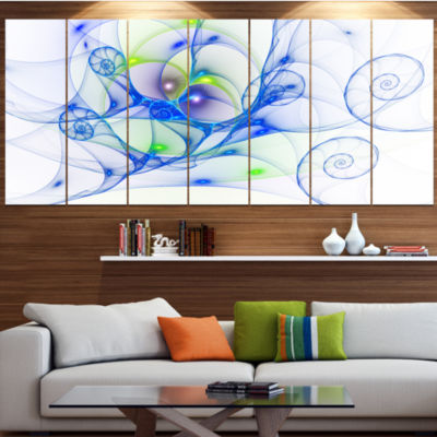 Designart Blue Colored Curly Spiral Abstract WallArt Canvas- 5 Panels