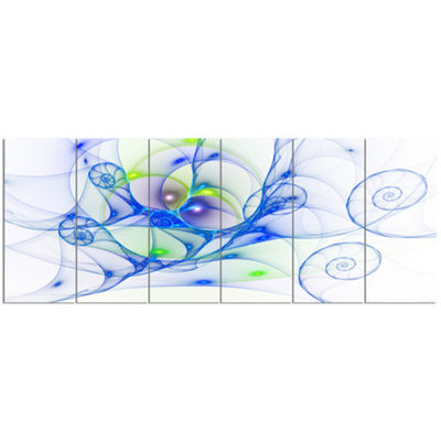 Designart Blue Colored Curly Spiral Abstract WallArt Canvas- 6 Panels