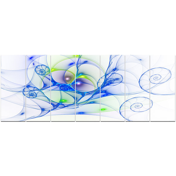 Designart Blue Colored Curly Spiral Abstract WallArt Canvas- 7 Panels