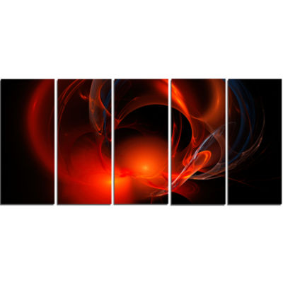 Red Galactic Nebula On Black Abstract Wall Art Canvas - 5 Panels