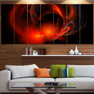 Red Galactic Nebula On Black Abstract Wall Art Canvas - 7 Panels