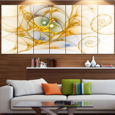 Golden Colored Curly Spiral Abstract Wall Art Canvas - 7 Panels