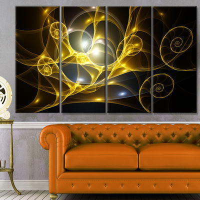 Golden Curly Spiral On Black Abstract Wall Art Canvas - 4 Panels