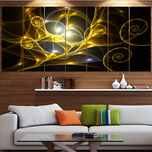 Golden Curly Spiral On Black Abstract Wall Art Canvas - 7 Panels