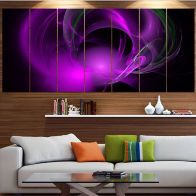Purple Fractal Galactic Nebula Abstract Wall Art Canvas - 4 Panels
