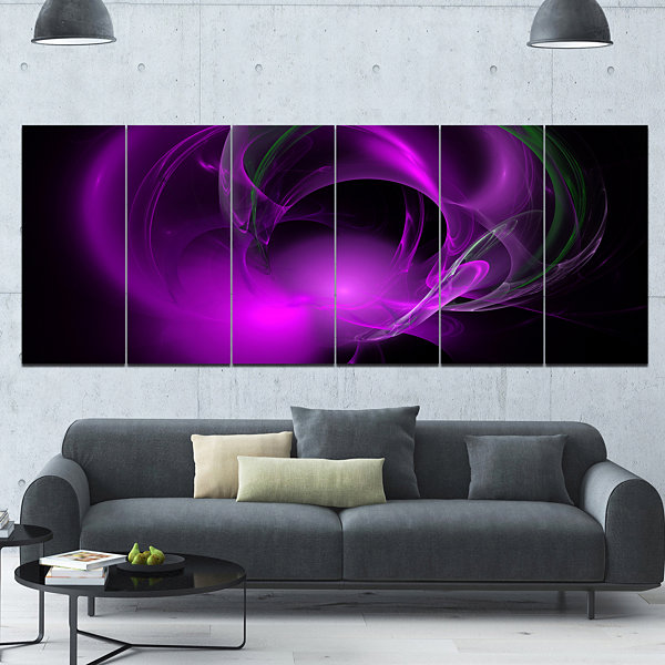 Purple Fractal Galactic Nebula Abstract Wall Art Canvas - 6 Panels