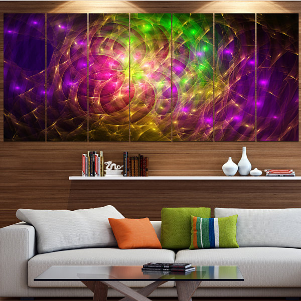 Purple Green Symphony Of Colors Abstract Wall ArtCanvas - 7 Panels