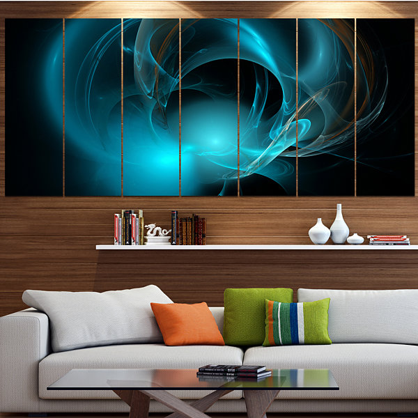 Designart Blue Fractal Galactic Nebula Abstract Wall Art Canvas - 7 Panels