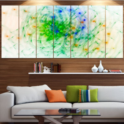 Green Outline Of Fractal Colors Abstract Wall ArtCanvas - 4 Panels