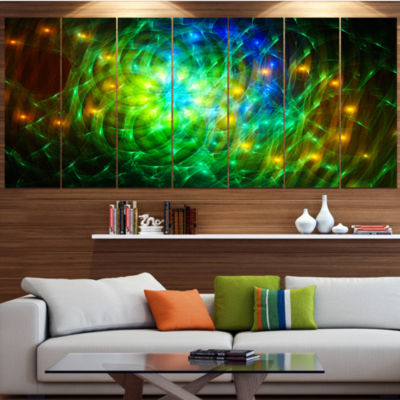 Green Fractal Symphony Of Colors Abstract Wall ArtCanvas - 4 Panels