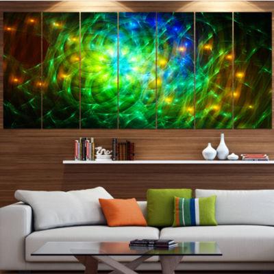 Green Fractal Symphony Of Colors Contemporary WallArt Canvas - 5 Panels