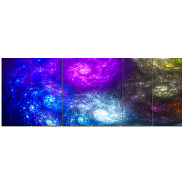 Designart Colorful Fractal Rotating Galaxies Abstract Wall Art Canvas - 6 Panels