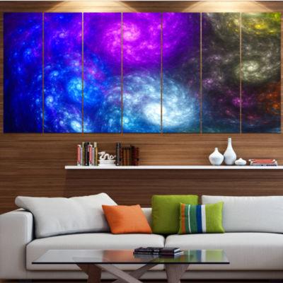 Designart Colorful Fractal Rotating Galaxies Abstract Wall Art Canvas - 7 Panels