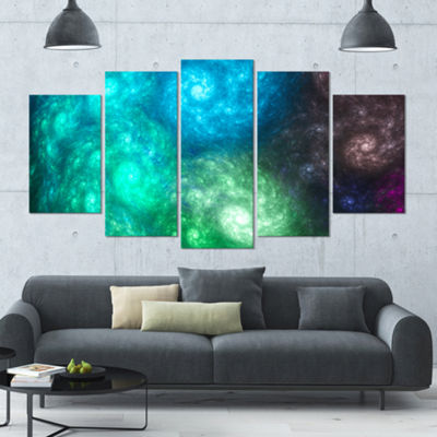 Designart Colorful Rotating Fractal Galaxies Contemporary Wall Art Canvas - 5 Panels