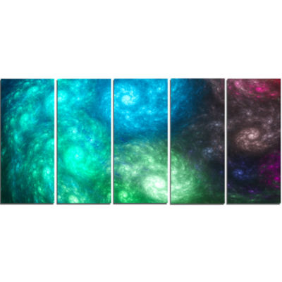 Colorful Rotating Fractal Galaxies Abstract Wall Art Canvas - 5 Panels