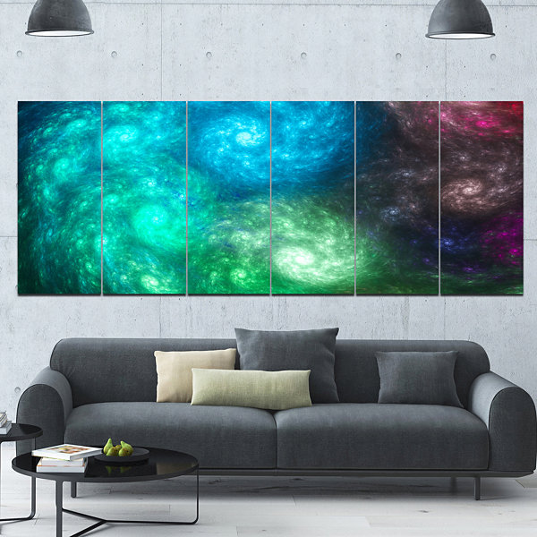 Designart Colorful Rotating Fractal Galaxies Abstract Wall Art Canvas - 6 Panels