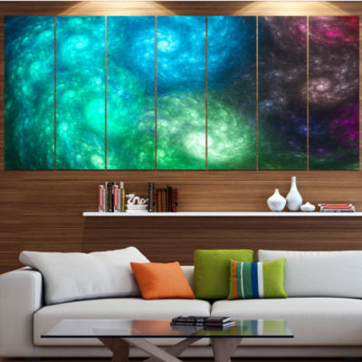 Designart Colorful Rotating Fractal Galaxies Abstract Wall Art Canvas - 7 Panels