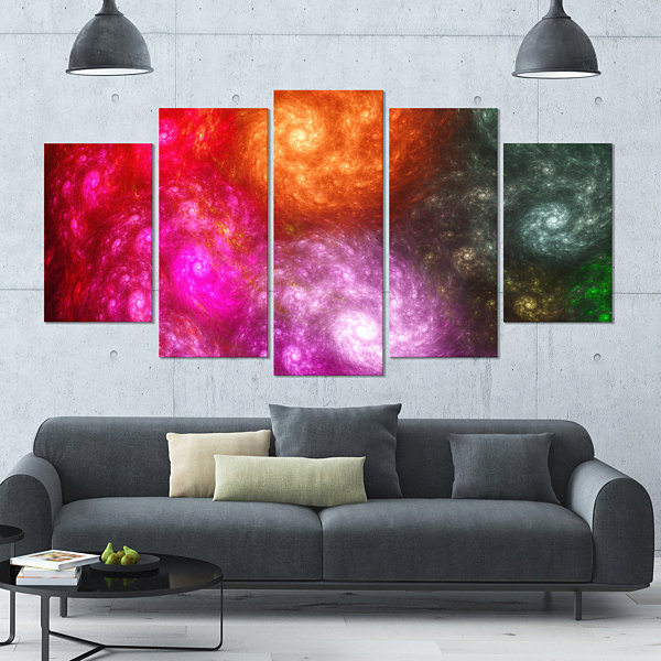 Multi Color Rotating Galaxies Contemporary Wall Art Canvas - 5 Panels