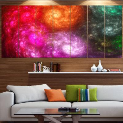 Multi Color Rotating Galaxies Abstract Wall Art Canvas - 7 Panels