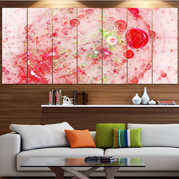 Red Fractal Planet Of Bubbles Abstract Wall Art Canvas - 4 Panels