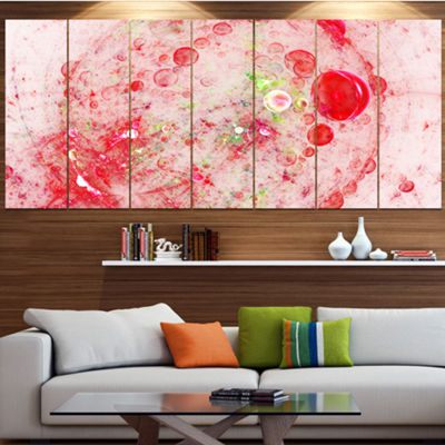 Red Fractal Planet Of Bubbles Contemporary Wall Art Canvas - 5 Panels