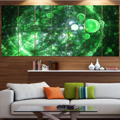 Green Fractal Planet Of Bubbles Contemporary WallArt Canvas - 5 Panels