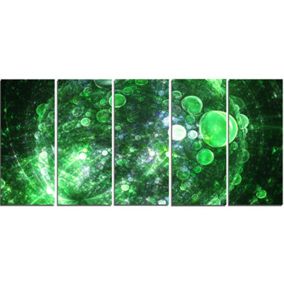 Green Fractal Planet Of Bubbles Abstract Wall ArtCanvas - 5 Panels