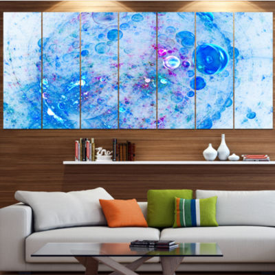 Blue Fractal Planet Of Bubbles Abstract Wall Art Canvas - 4 Panels