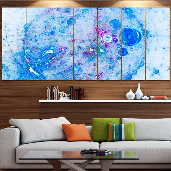 Designart Blue Fractal Planet Of Bubbles Contemporary Wall Art Canvas - 5 Panels