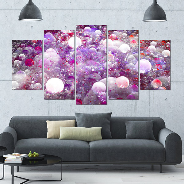 Red Fractal Molecule Pattern Contemporary Wall ArtCanvas - 5 Panels