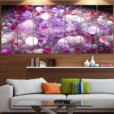 Red Fractal Molecule Pattern Abstract Wall Art Canvas - 7 Panels