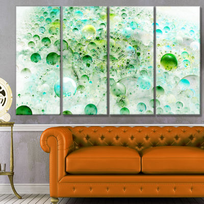 Green Blue Fractal Molecules Abstract Wall Art Canvas - 4 Panels