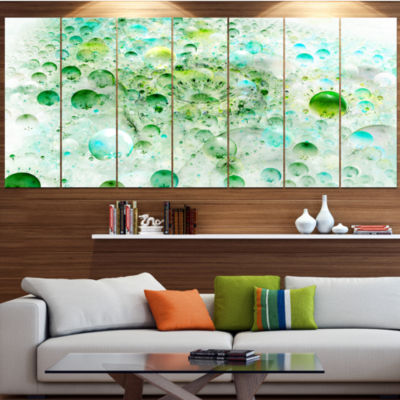 Green Blue Fractal Molecules Abstract Wall Art Canvas - 5 Panels