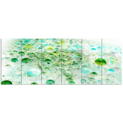 Green Blue Fractal Molecules Abstract Wall Art Canvas - 6 Panels
