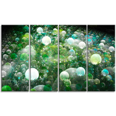 Green Fractal Molecule Pattern Abstract Wall Art Canvas - 4 Panels