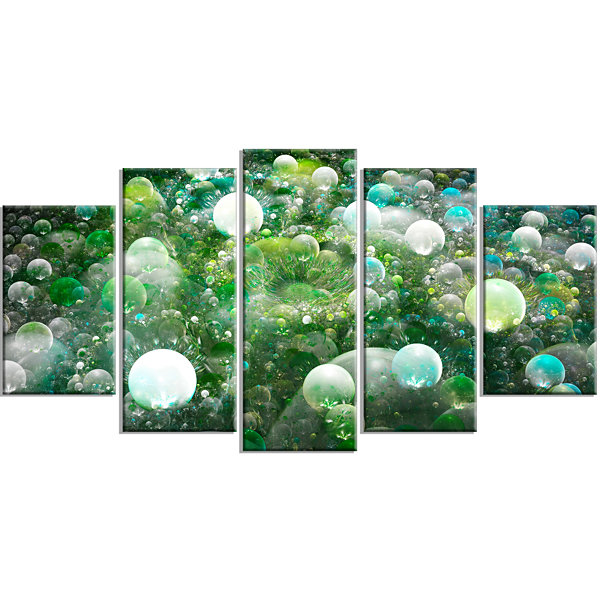 Green Fractal Molecule Pattern Contemporary Wall Art Canvas - 5 Panels