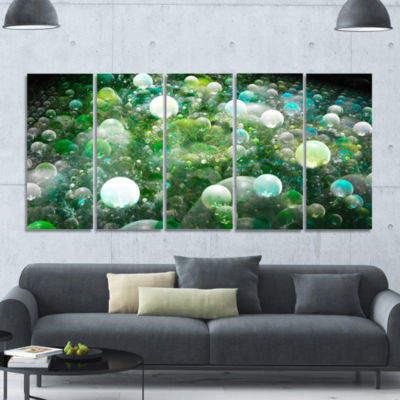 Green Fractal Molecule Pattern Abstract Wall Art Canvas - 5 Panels
