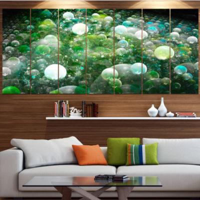 Green Fractal Molecule Pattern Abstract Wall Art Canvas - 6 Panels